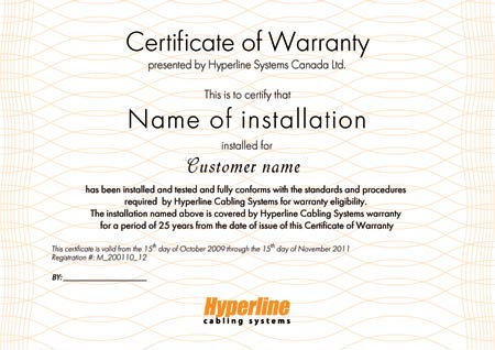 certificate of warranty Hyperline